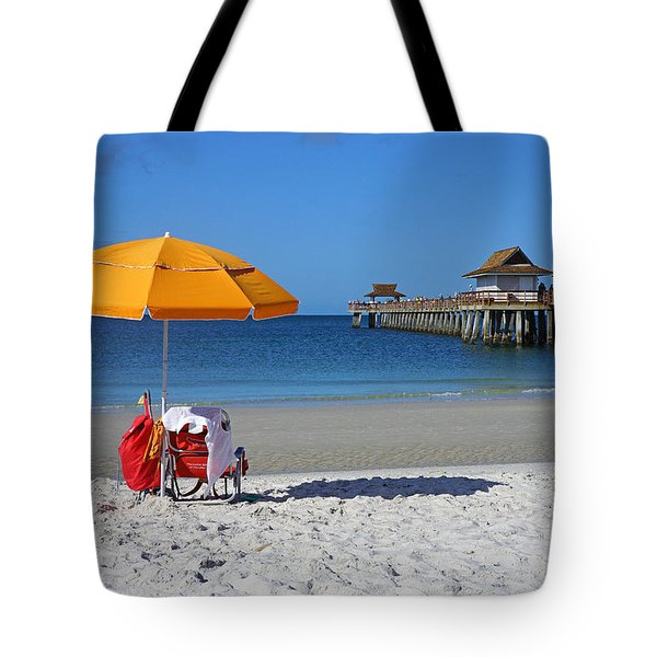 The Naples Pier Tote Bag by Robb Stan