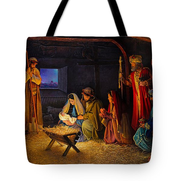 Tote Bag featuring the painting The Nativity by Greg Olsen