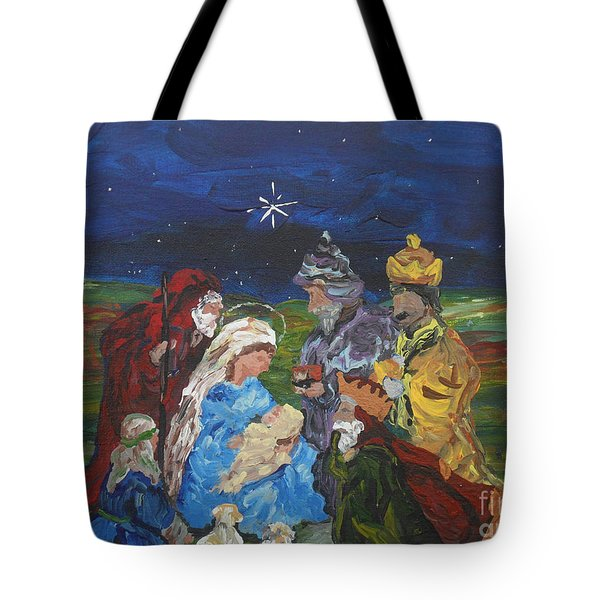 Tote Bag featuring the painting The Nativity by Reina Resto