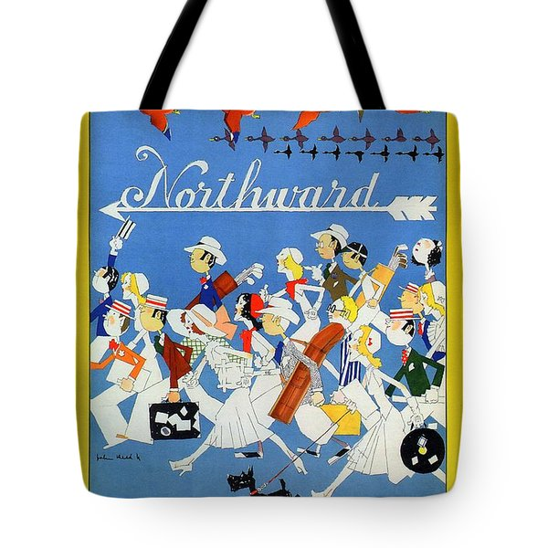 The New Haven Rail Road - Vintage Illustrated Poster - People Travelling Northward - Migrating Birds Tote Bag