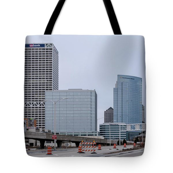 Tote Bag featuring the photograph The New Milwaukee Skyline by Randy Scherkenbach