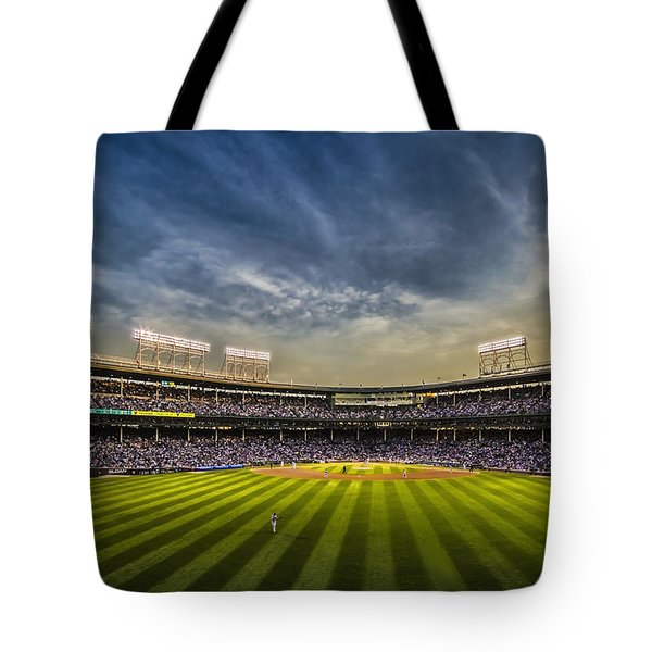 The New Wrigley Field With Pretty Sunset Sky Tote Bag