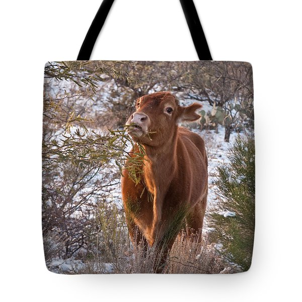 The New Years Cow Tote Bag by Donna Greene