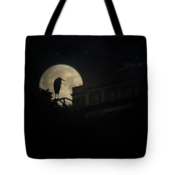 Tote Bag featuring the photograph The Night Of The Heron by Chris Lord