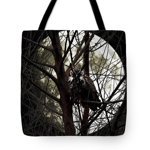 The Night Owl And Harvest Moon Tote Bag by Wingsdomain Art and Photography