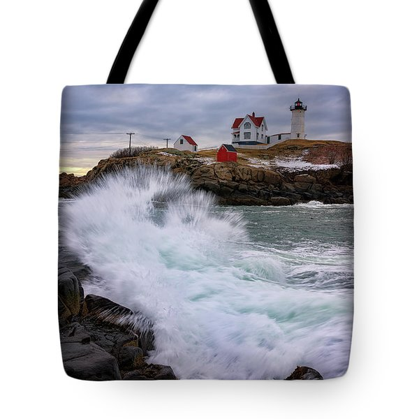 Tote Bag featuring the photograph The Nubble After A Storm by Rick Berk