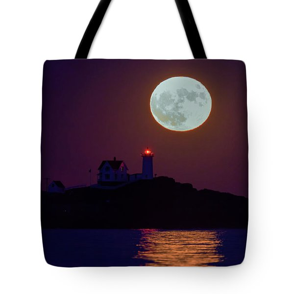 The Nubble And The Full Moon Tote Bag by Rick Berk