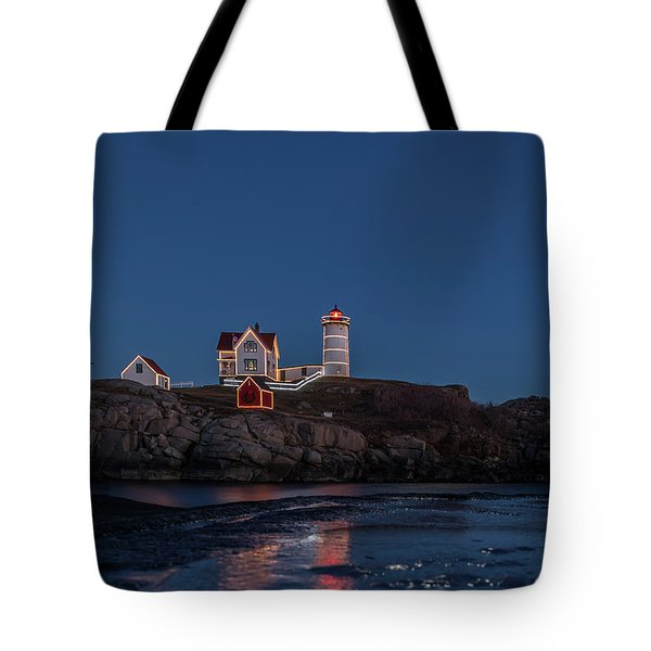 The Nubble Waiting For Snow Tote Bag