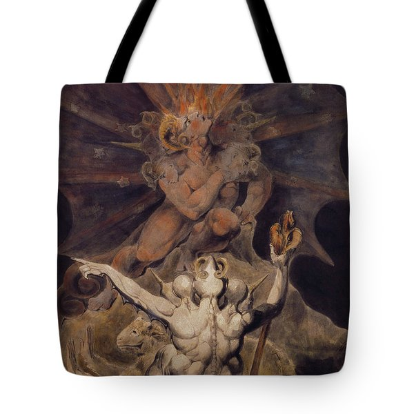 The Number Of The Beast Is 666 Tote Bag by William Blake