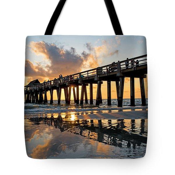 Naples Pier At Sunset Naples Florida Ripples Tote Bag