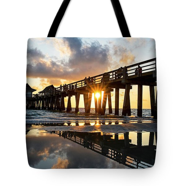 Naples Pier At Sunset Naples Florida Tote Bag