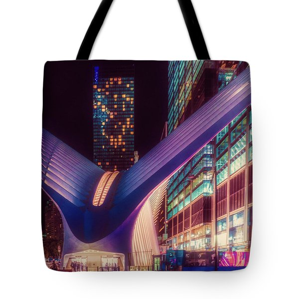 Tote Bag featuring the photograph The Occulus At Midnight by Chris Lord