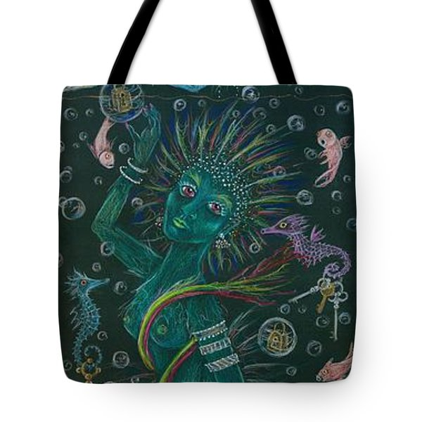Tote Bag featuring the drawing The Ocean She by Dawn Fairies