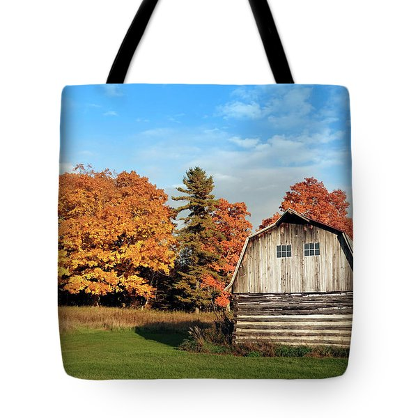 Tote Bag featuring the photograph The Old Barn In Autumn by Heidi Hermes