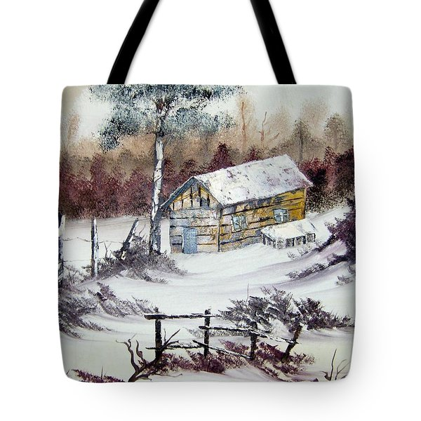 The Old Barn In Winter Tote Bag