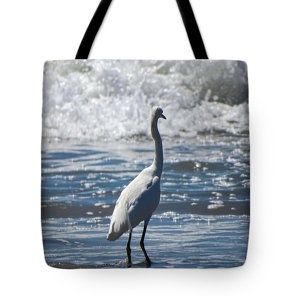 Egret And The Waves Tote Bag