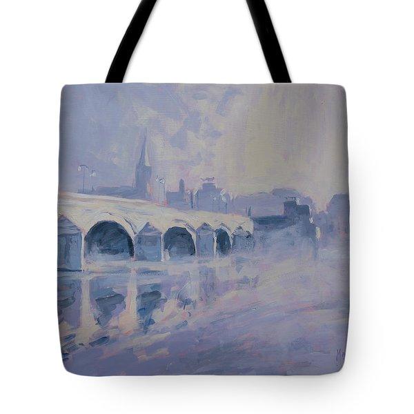 The Old Bridge Of Maastricht In Morning Fog Tote Bag by Nop Briex