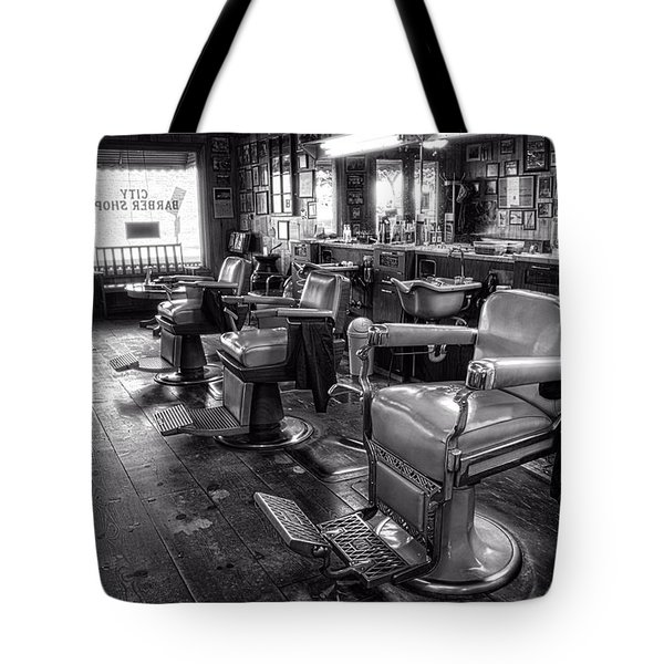 The Old City Barber Shop In Black And White Tote Bag