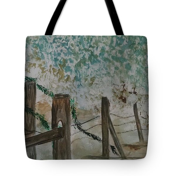 the Old fence Tote Bag by Judi Goodwin