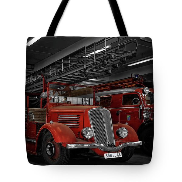 The Old Fire Trucks Tote Bag