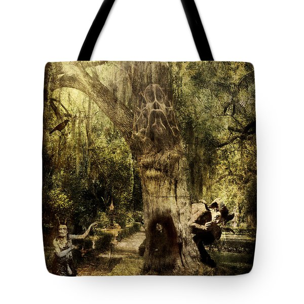Tote Bag featuring the digital art The Old Goat Tree by Rhonda Strickland
