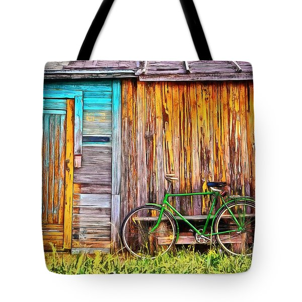Tote Bag featuring the painting The Old Green Bicycle by Edward Fielding