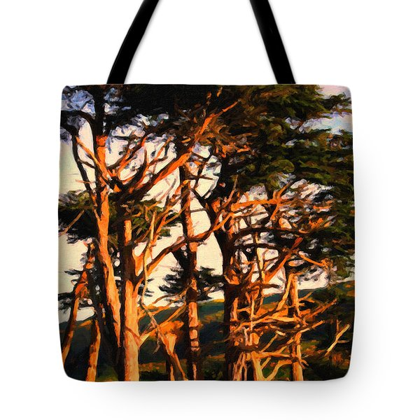 The Old Grove At The Ranch At Sunset . 40d4531 . Painterly Tote Bag