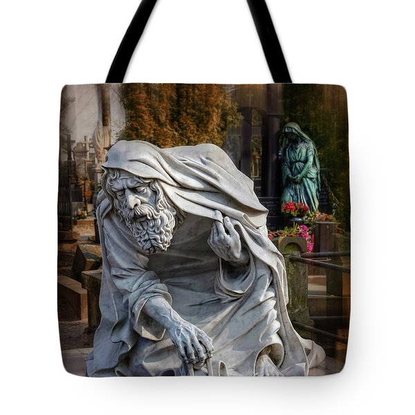 Tote Bag featuring the photograph The Old Man Of Powazki Cemetery Warsaw  by Carol Japp