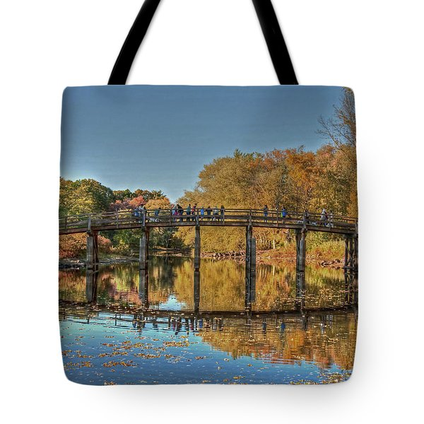 Tote Bag featuring the photograph The Old North Bridge by Wayne Marshall Chase