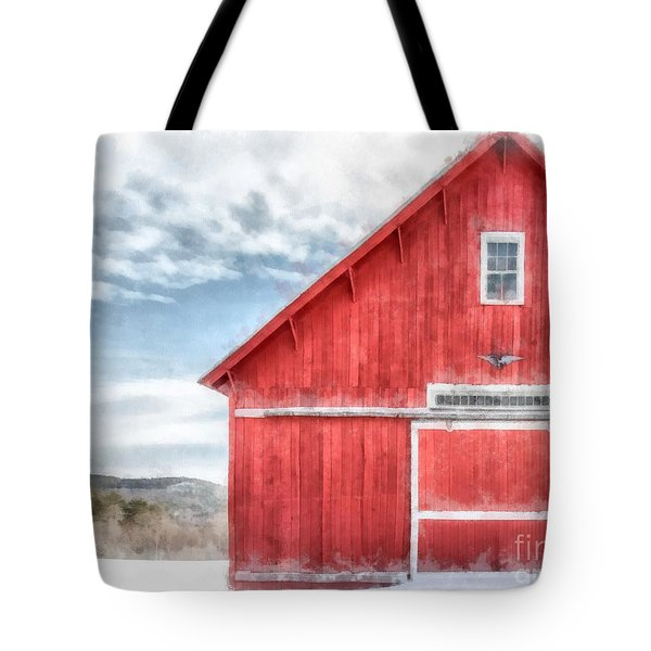 The Old Red Barn Newport New Hampshire Watercolor Tote Bag