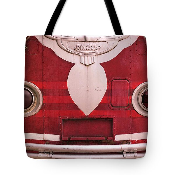 Tote Bag featuring the photograph The Old Red Bus by Heidi Hermes