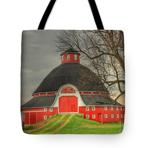 The Old Round Barn Of Ohio Tote Bag by Pamela Baker