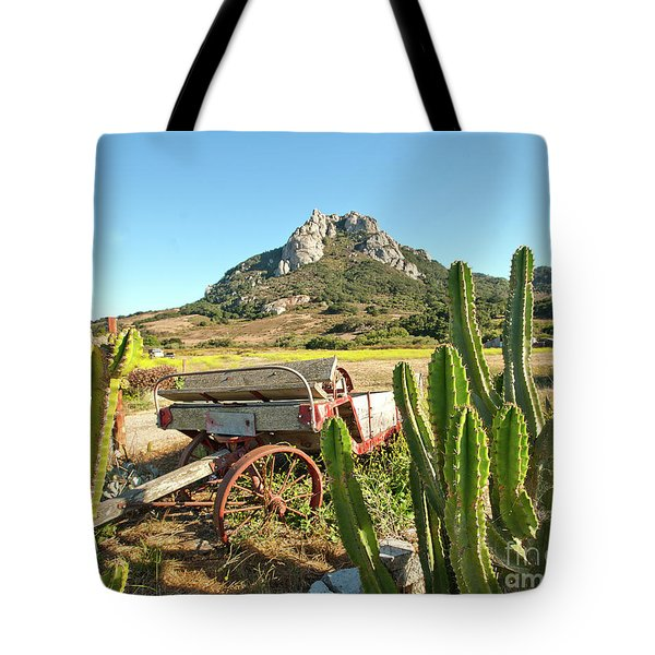 The Old Wagon And Cactus Patch In Front Of One Of The Seven Sisters In San Luis Obispo California Tote Bag