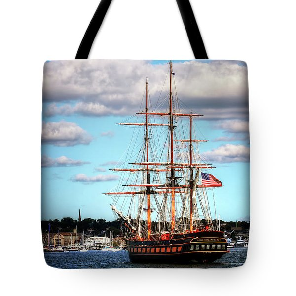 Tote Bag featuring the photograph Tall Ship The Oliver Hazard Perry by Tom Prendergast