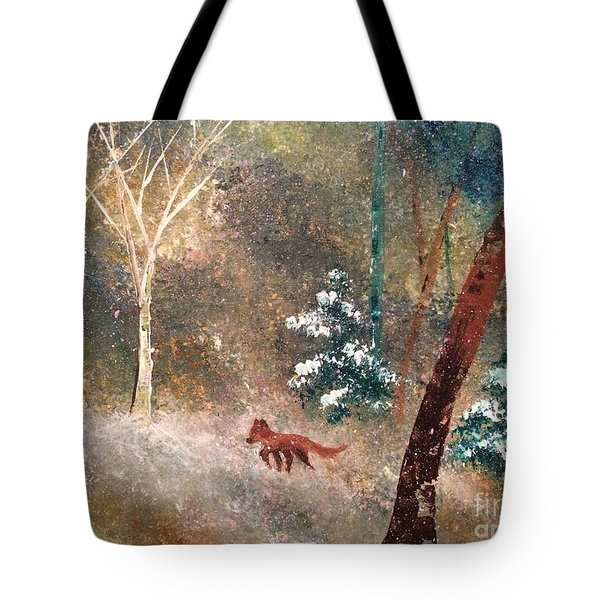 Tote Bag featuring the painting The Onion Snow by Denise Tomasura