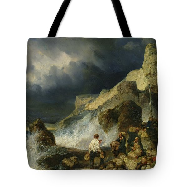The Onslaught Of The Smugglers Tote Bag by Louis Eugene Gabriel Isabey