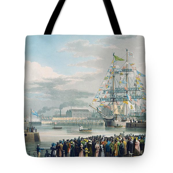 The Opening Of Saint Katharine Docks Tote Bag by Edward Duncan