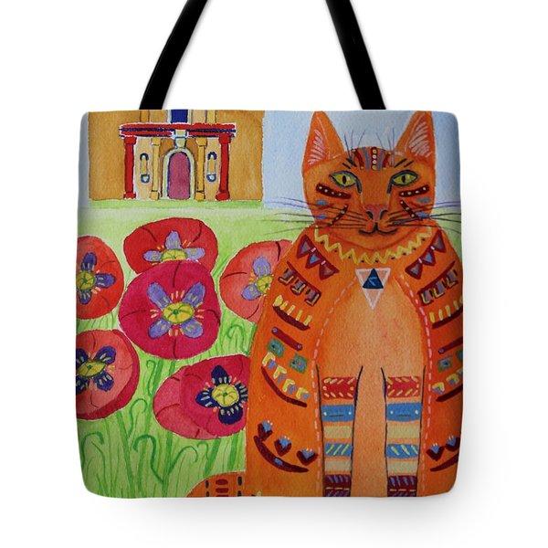 the Orange Alamo Cat Tote Bag