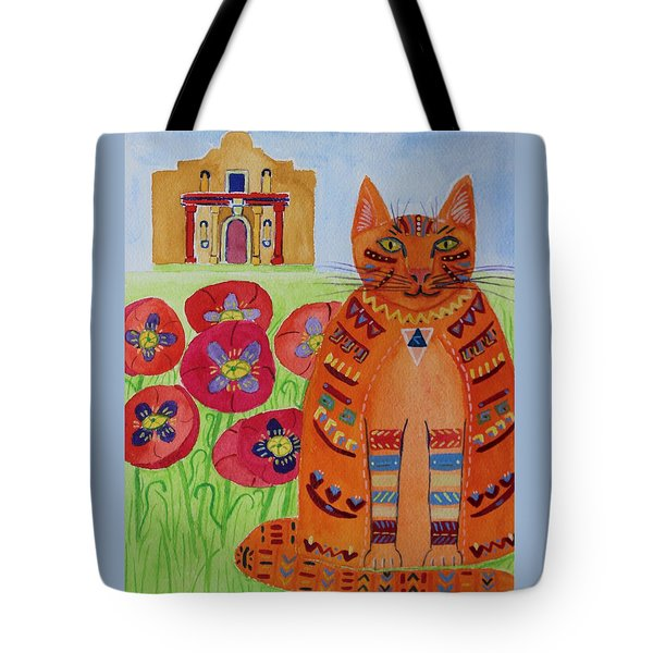 the Orange Alamo Cat Tote Bag