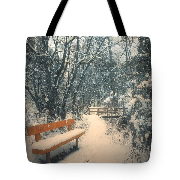 The Orange Bench Tote Bag by Tara Turner
