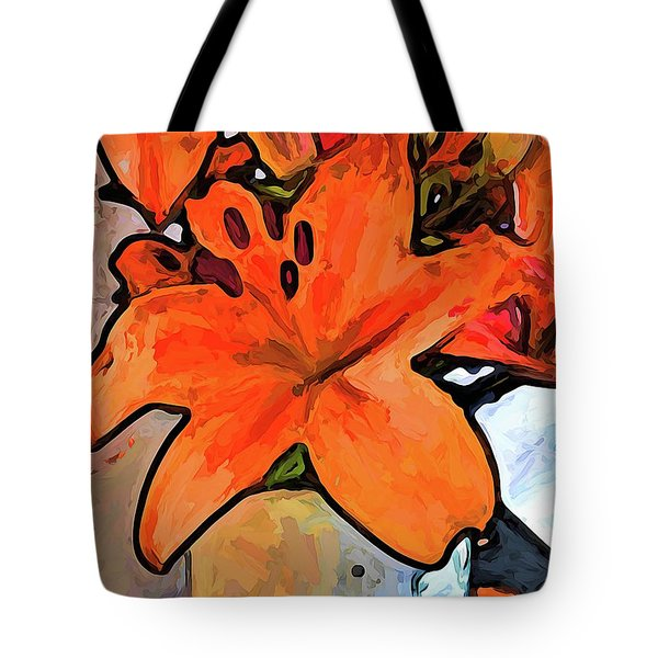 The Orange Lilies In The Mother Of Pearl Vase Tote Bag