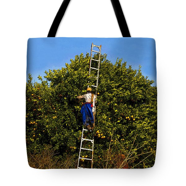 The Orange Picker Tote Bag by David Lee Thompson