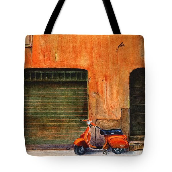 The Orange Vespa Tote Bag