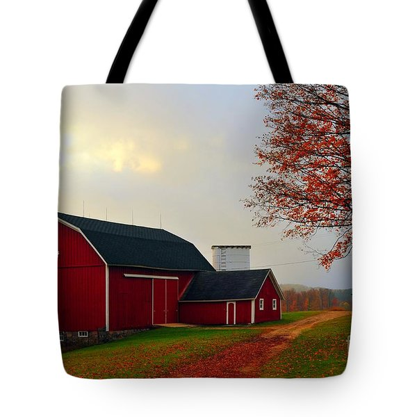 The Orignal Historic Eggle Farms Barn That Burned Down Tote Bag