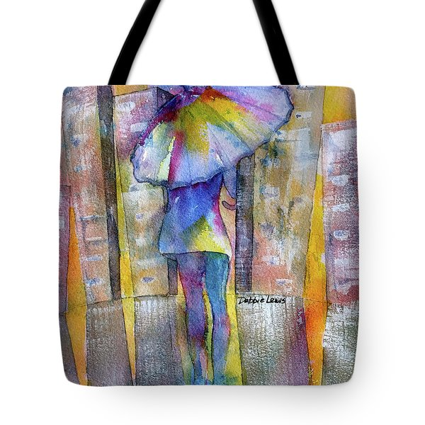 Tote Bag featuring the painting The Other Girl In The City by Debbie Lewis