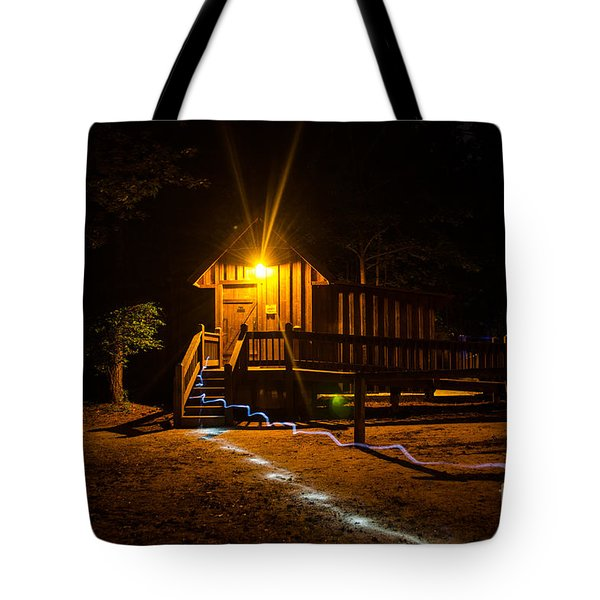 The Out House Mystery Tote Bag by Donna Brown