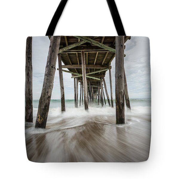 The Outer Banks North Carolina Fishing Pier Tote Bag by Rick Dunnuck