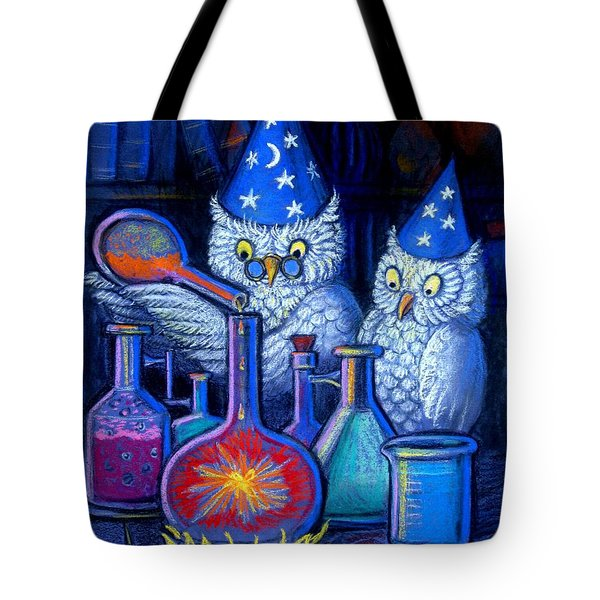 Tote Bag featuring the painting The Owl Chemists by Sue Halstenberg