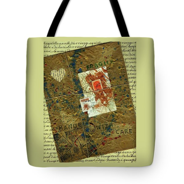 Tote Bag featuring the mixed media The Package by P J Lewis