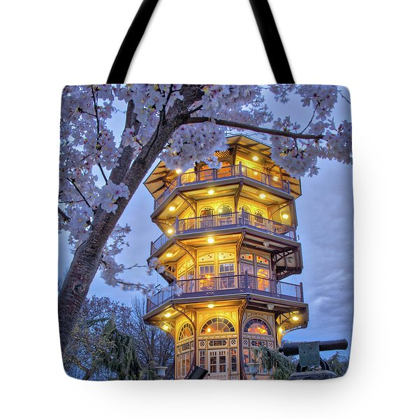 Tote Bag featuring the photograph The Pagoda In Spring At Blue Hour by Mark Dodd